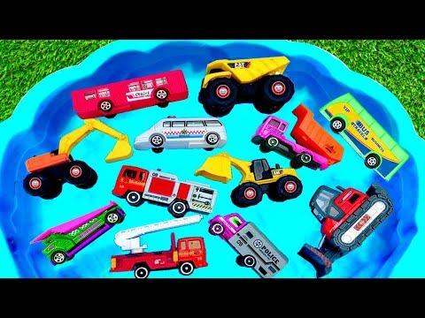 Coches para niños en el Agua   Carros Camiones Tractores Bus   Cars for Kids