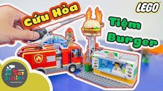 Cứu hỏa tiệm Burger và Bắt tội phạm nhảy dù với 2 set LEGO 60214, 60208 ToyStation 343