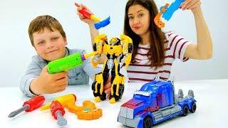 Ремонтируем Бамблби! – Игры с Трансформерами - Видео для детей.
