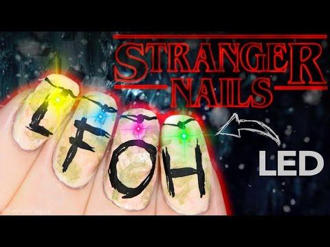 Stranger Things Christmas Lights Nail Art