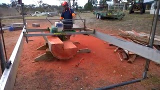 Lucas Mill job at Inman Valley - Part 1, Cutting 6x6 Strainer Posts