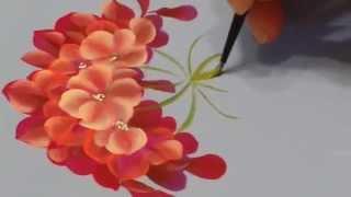 Pintura de uma flor begônia real.
