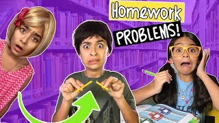 Homework Problems - Comedy Skits - w/ Unboxing Pikmi Pops Surprise Toys // GEM Sisters