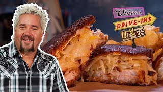 Guy Fieri Eats An Out-of-This-World Pork Belly Reuben (on #DDD) | Food Network