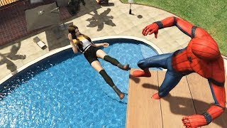 GTA 5 Epic Ragdolls | SPIDERMAN Jumps/Fails ep.24 (Euphoria physics | Funny Moments)