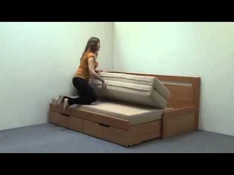 Video BMB Postel Tandem KLASIK s levou područkou - imitace dřeva Dekor: Bílá, Provedení: rovné, Rozměr: 90/180 x 200 cm 3