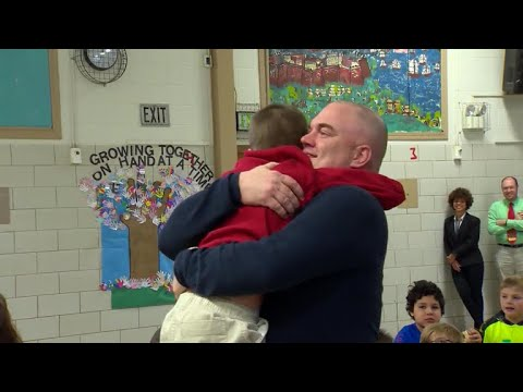 Army dad surprises son at school ahead of Christmas