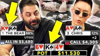 ACTION Players Collide in Big Pots ♠ Live at the Bike!