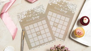 Rustic Bridal Shower Games|Set of 7 Games, 30 Sheets Each Thick Cardstock Wedding Kraft Theme Cards