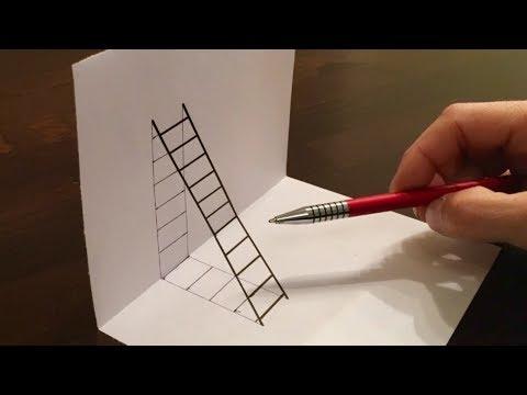 Eine 3D Leiter zeichnen / Illusion