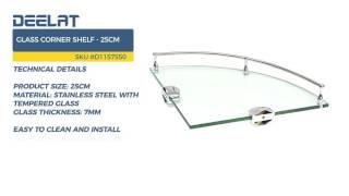 Glass Corner Shelf - 25cm