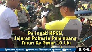 Peringati HPSN, Kapolresta Palembang Turun Langsung Pungut Sampah di Pasar 10 Ulu