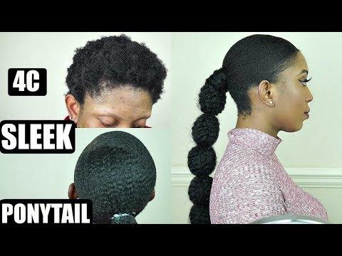 NATURAL 4C HAIR SLEEK LOW PONYTAIL TUTORIAL FOR BEGINNERS