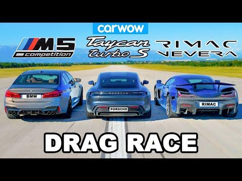 Rimac Nevera vs Porsche Taycan vs BMW M5: DRAG RACE