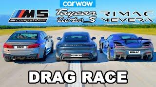 [carwow] Rimac Nevera vs Porsche Taycan vs BMW M5: DRAG RACE