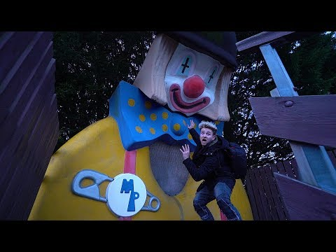 Abandoned Amusement Park – Big Clown In Trees !