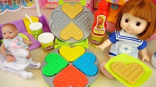Play doh and baby doll waffle cooking kitchen play