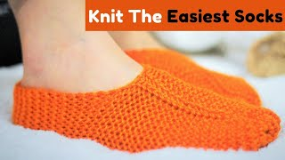 How to knit easiest ever  sock/slipper (unisex) -  Amazing result 💕