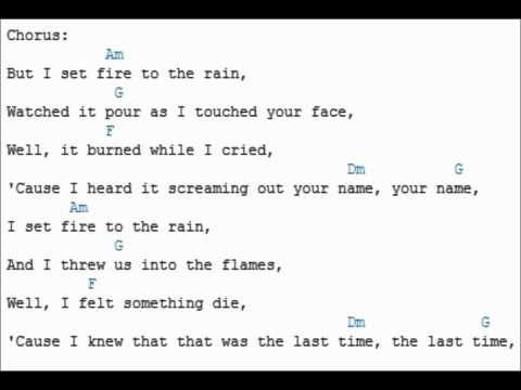 Learn How To Play Set Fire To The Rain Adele With Chords And Lyrics