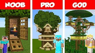 Minecraft NOOB vs PRO: Jungle Tree House Challenge in Minecraft / Animation