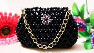 পুতির কালো ব্যাগ/ Beaded bag/ Beaded hand bag/ putir bag/ Black viral beaded bag