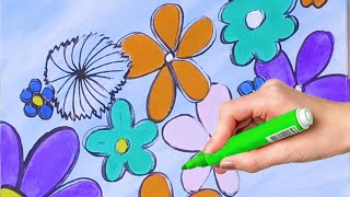 Coloring Videos For Kids Easy How To Draw Flowers Coloring Pages Paint Art