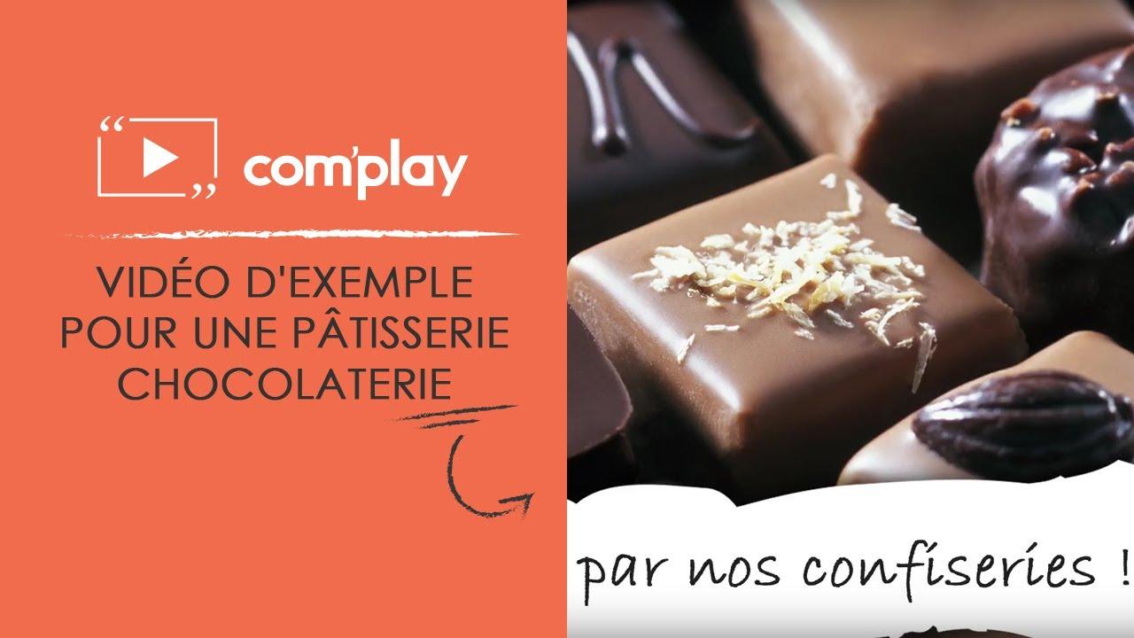 Image YouTube Affichage dynamique : exemple de diffusion pour une pâtisserie-chocolaterie