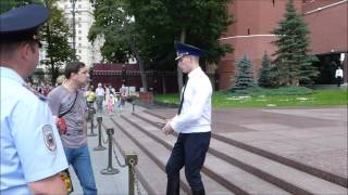 Unknown citizen honours to the Tomb of the Unknown Soldier (Moscow, Russia)
