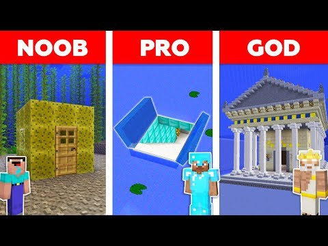 Minecraft NOOB vs PRO vs GOD: UNDERWATER BASE BUILD CHALLENGE in Minecraft / Animation