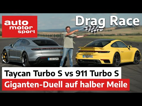 Porsche Taycan Turbo S vs 911 Turbo S - Giganten-Duell bei Drag Race | auto motor und sport