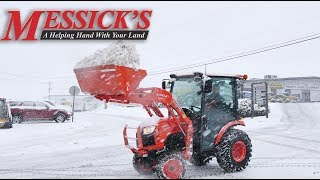 How to clear snow using your loader - Kubota B2650 Cab Compact Tractor