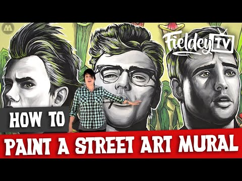 street art mural with acrylic inks and brushes by fieldey tv: art & tutorials