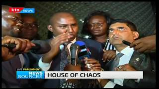 News Sources: Chaos rocks Parliamentary proceedings as CORD MP's force sitting to be adjourned