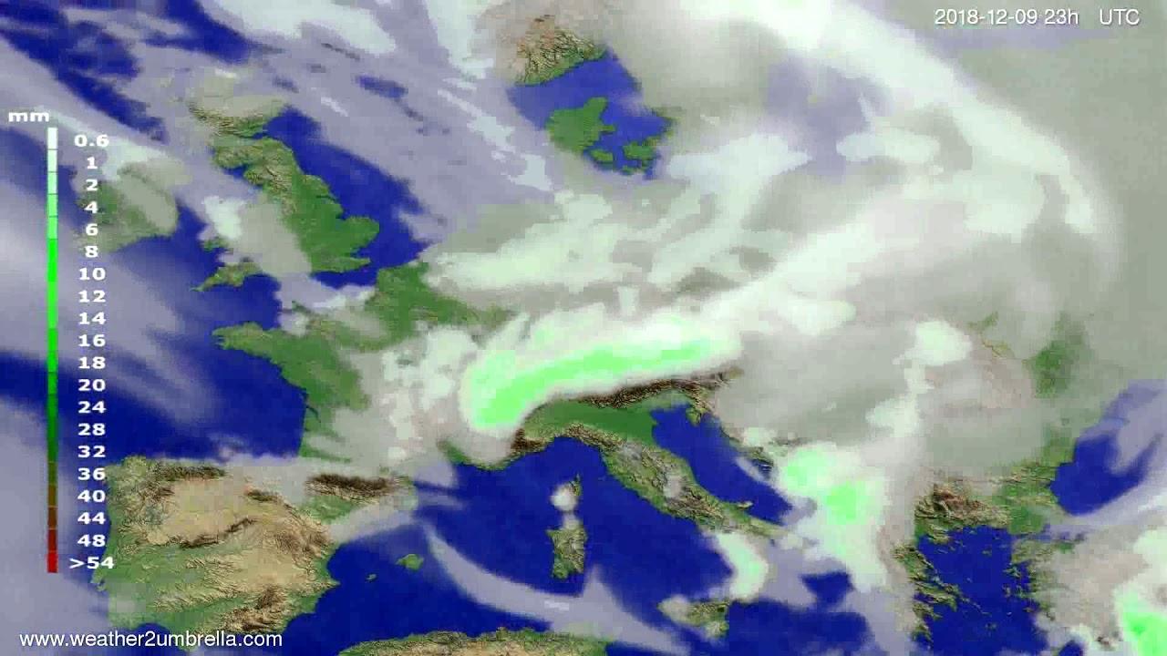 Precipitation forecast Europe 2018-12-06