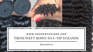 How to make stick tip extensions from weft weave hair
