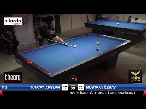 TUNCAY ARSLAN & MUSTAFA ÖZBAY Bilardo Maçı - AKSOY BİLARDO 3 BANT TURNUVASI-3. Tur
