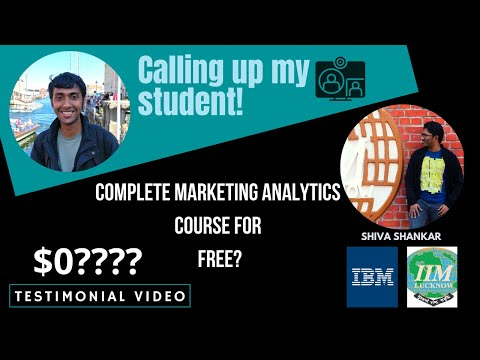 Marketing Analytics Course:IIM Alumni Completes the Course for Free