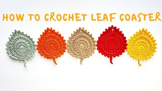 How To Crochet Leaf Coaster 🍂