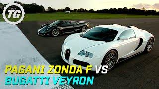 Pagani Zonda F Vs Bugatti Veyron Drag Race   Top Gear   BBC