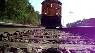 BNSF Coal Empty Accelerates over camera!