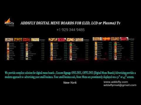 Digital Menu Boards for Restaurants (LED, LCD or Plasma) TV New York