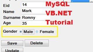 MySQL VB.NET Tutorial 18 : Checkbox , radiobutton and groupbox with Database