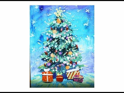 Как нарисовать Новогоднюю елку поэтапно гуашью. Видео уроки рисования для детей 4-8 лет