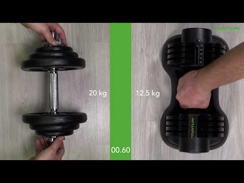 Promovideo: Variabilní jednoruční činka 2,5-12,5 kg TUNTURI Selector