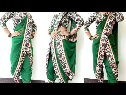 How to Drape Georgette Saree in Dhoti Style - 2019