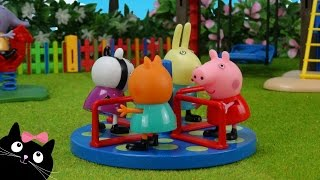 Peppa Pig y sus Amigos van a la Escuela y Juegan en el Parque de Playmobil - Juguetes de Peppa Pig