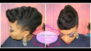 Natural Hair Tutorial | Janelle Monae Inspired | Jumbo Two Strand Twisted Updo