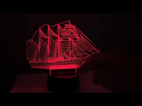 Segel Schiff 3D Illusion Lampe Nacht Licht 3D Illusions Effekt LED-Lampe unboxing und Anleitung