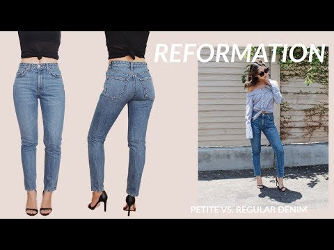 REFORMATION Regular vs. Petite Denim Jeans Try On Haul + Review | JULIA SUH