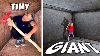 Tiny vs GIANT Unbreakable Boxes! *TRAPPED INSIDE CHALLENGE*